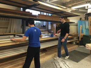 Raymond W.S. Ng '17 (Master Carpenter) and Brad A. Latilla-Campbell '16 (Producer) building frames for set pieces.