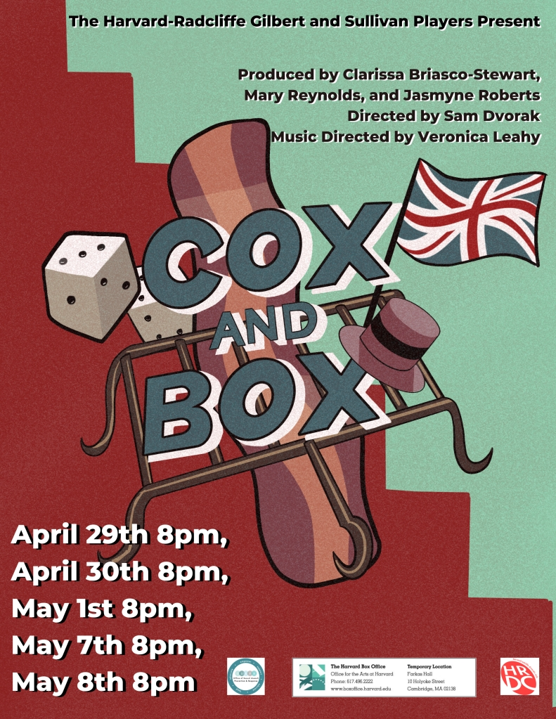 """A green and red poster for the show """"Cox and Box"""". In the center behind the title is a piece of bacon, a gridiron, a pair of dice, and a British flag."""
